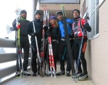Listos para el primer día de esquí