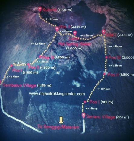 Trekking del Gunung Rinjani - Mapa